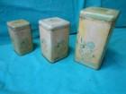 Tri stare limene kutije za začine-CVETNI MOTIV-