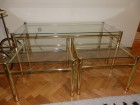 Tri stola - 2 manja i 1 veci kombinacija staklo/mesing