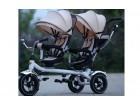 Tricikl Playtime 412 TWINS sa dva sedista - Bež