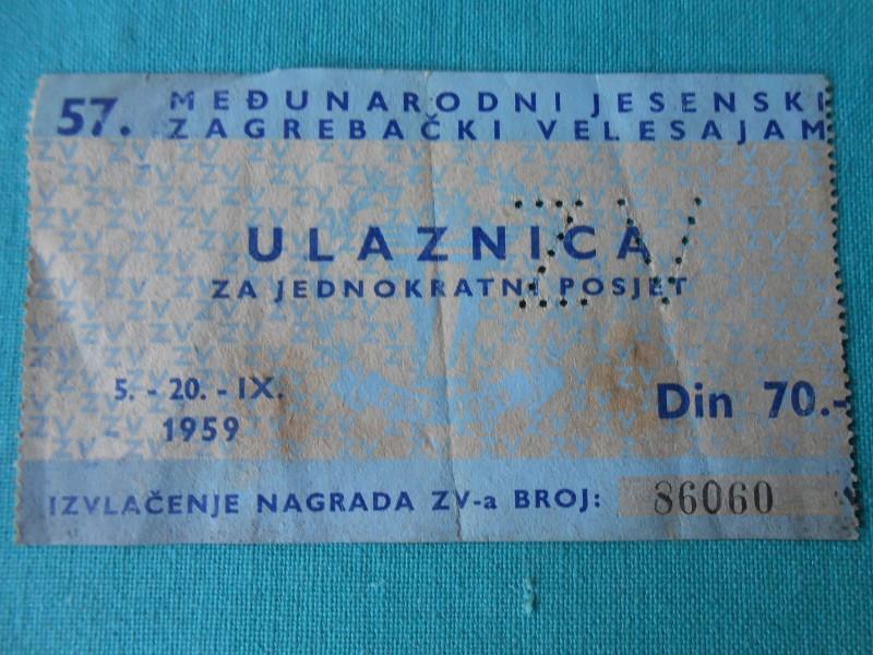 ULAZNICA-57.-ZAGREBAČKI VELESAJAM-1959.-/F15/