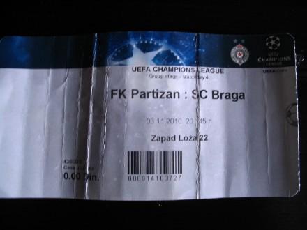 ULAZNICA PARTIZAN - BRAGA  100 DINARA!!!