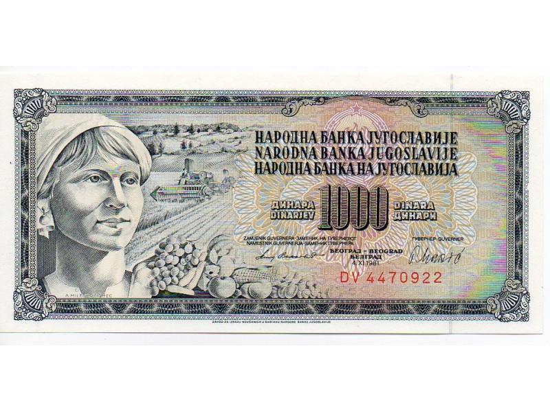 UNC 1000 DINARA 1981.-GUVERNER RADOVAN MAKIĆ