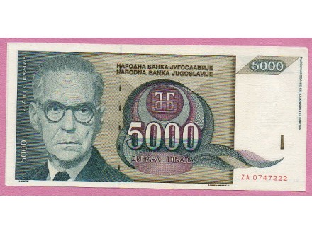 UNC ZAMENSKA 5000 DINARA 1992. god.