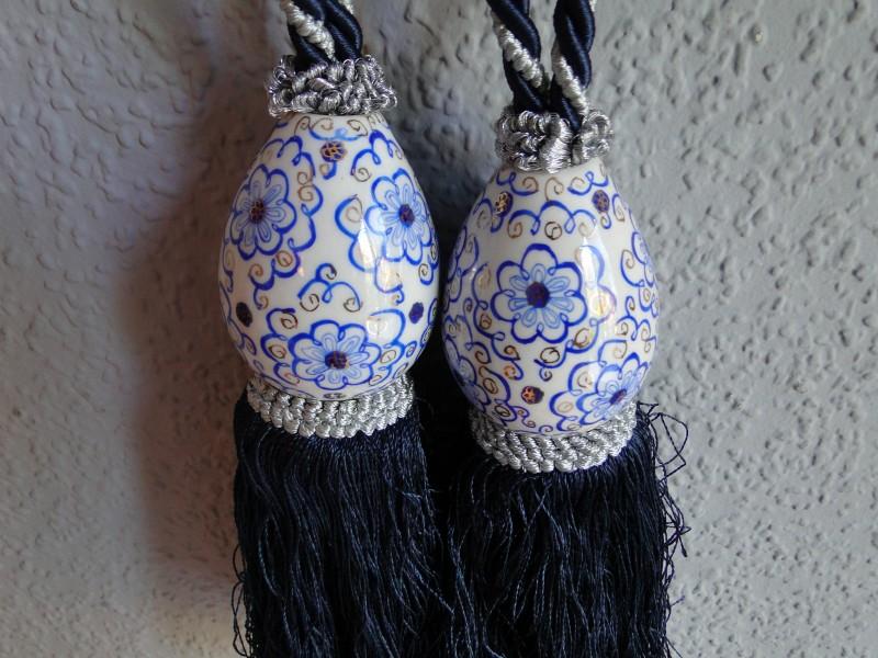Ukrasne keramicke kicanke za zavese, 2 komada