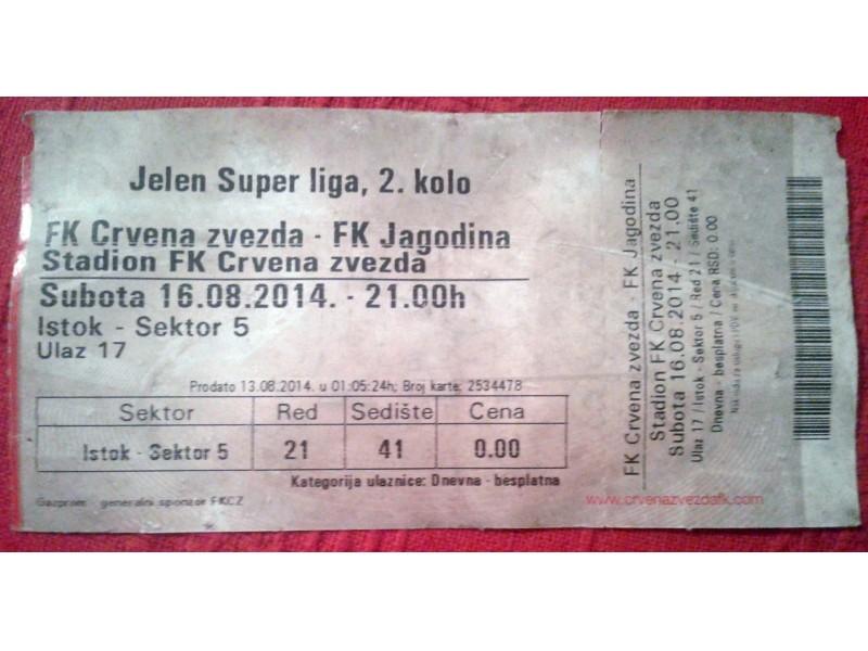 Ulaznica: Crvena zvezda - Jagodina SL