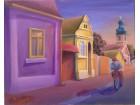 Umetnička slika `Predvečerje u sremačkom sokaku`