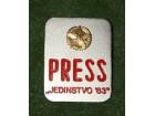 VOJNA-PRESS JEDINSTVO 1983-kopča-5x4 cm.