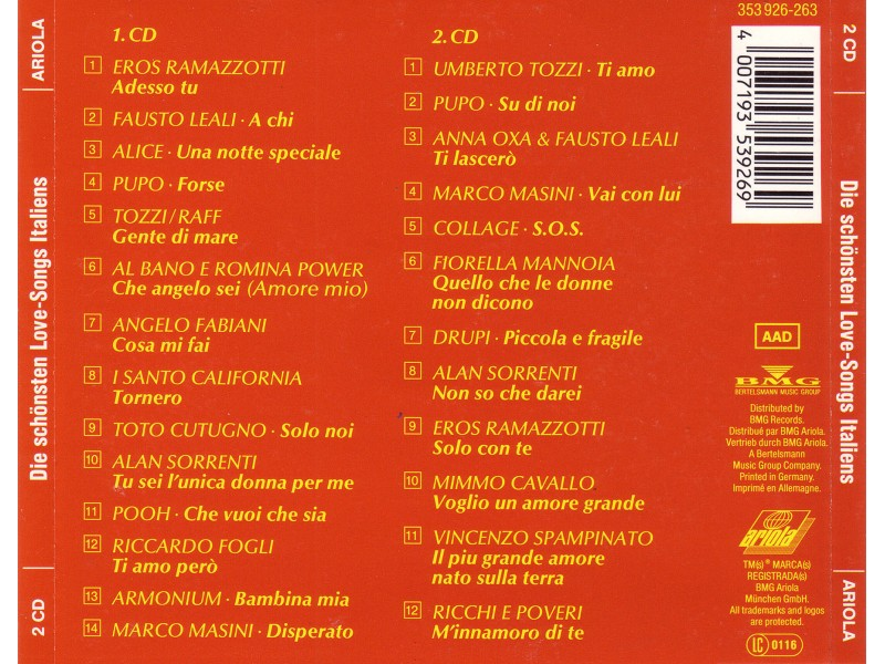Various  Artists - Ti Amo - Love Songs Italiens x 2