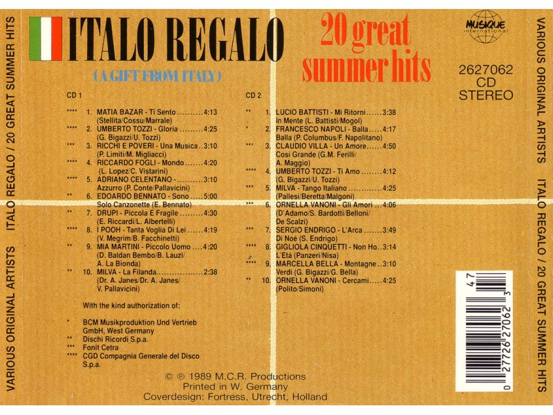 Various artist - Italo Regalo - 20 Great Summer Hits