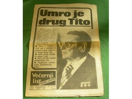Večernji list, posebno izdanje, Tito, 5. maj 1980.