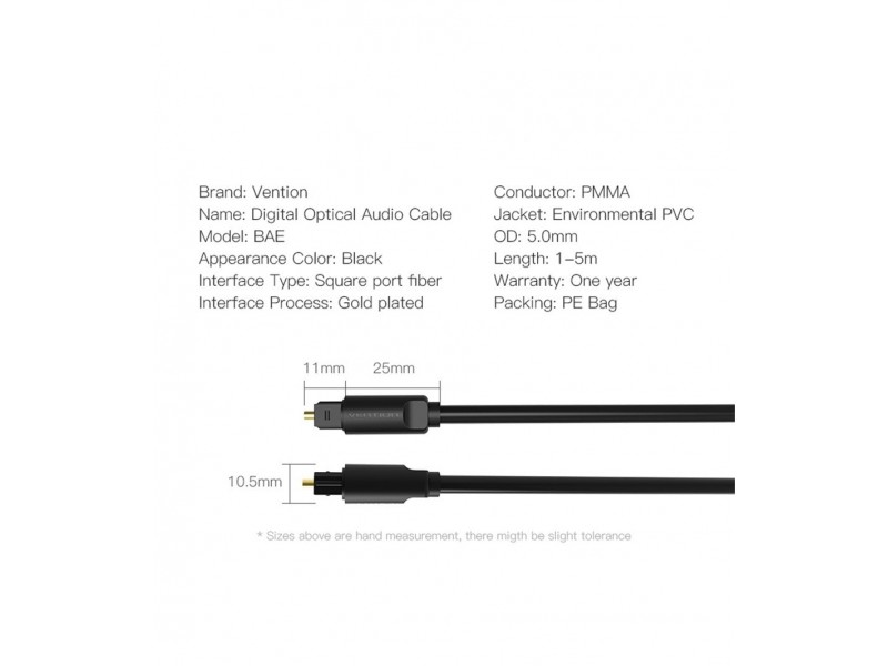 Vention Optical Audio Cable Toslink
