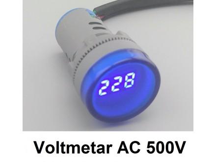 Voltmetar AC 60-450V plavi displej - 22mm