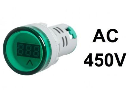 Voltmetar AC 60-450V zeleni displej - 22mm