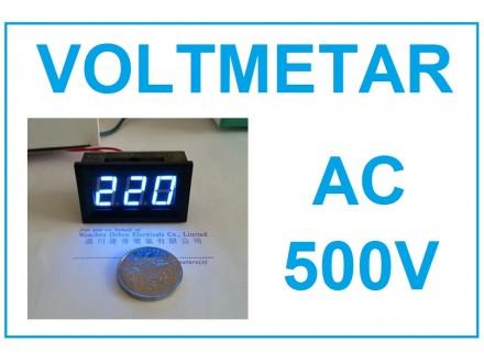 Voltmetar AC 60-500V plavi displej