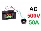 Voltmetar i Ampermetar AC 500V i 50A crveno-zelen