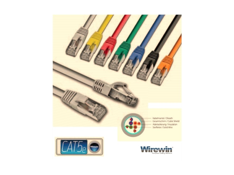 Wirewin STP, CAT5e Patch, 100% copper, LSZH, gray, 1.0m