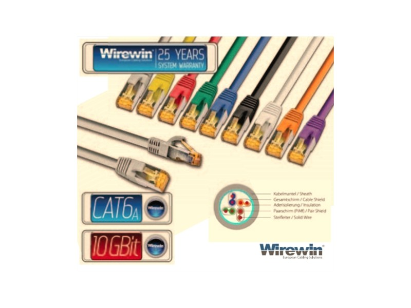 Wirewin STP, CAT6e Patch, 100% copper, LSZH, gray, 10.0m