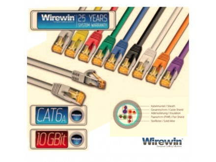 Wirewin STP, CAT6e Patch, 100% copper, LSZH, gray, 7.0m