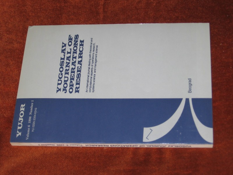 YUGOSALAV JOURNAL OF OPERATIONS RESEARCH NUMBER 1, 1996