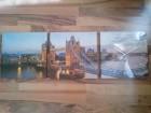 Zidni trodelni sat sa motivom Londona (platno/drvo)