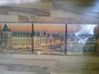 Zidni trodelni sat sa motivom Pariza (platno/drvo)