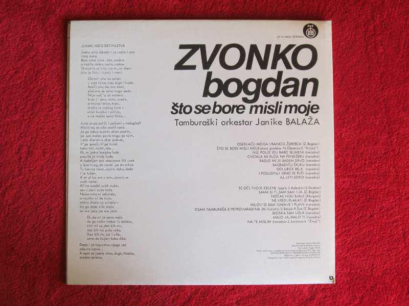 Zvonko Bogdan, Ansambl Janike Balaža - Što Se Bore Misli Moje