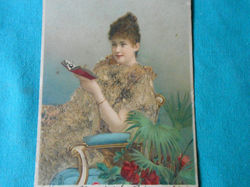 embossed postcard girl with the book `mixed media
