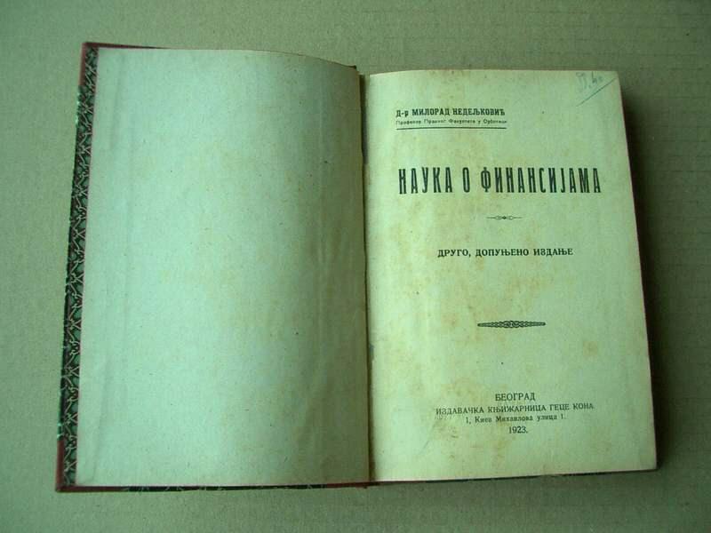 knjiga, Dr M Nedeljković, Nauka o Finansijama
