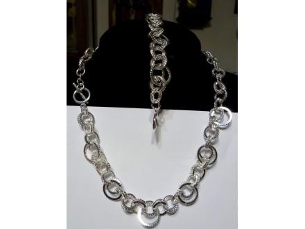komplet posrebren 925 narukvica +ogrlica