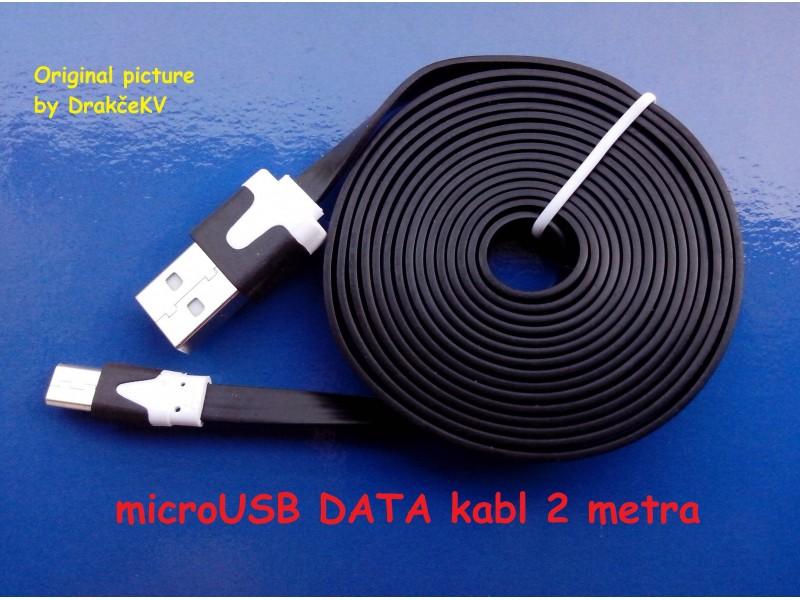 microUSB DATA kabl 2 metra pljosnat