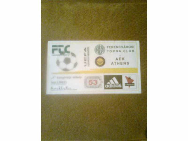 ulaznica  FTC Budimpešta - AEK Athens